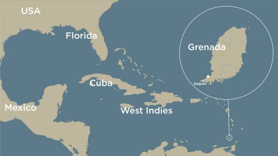 Grenada on the map